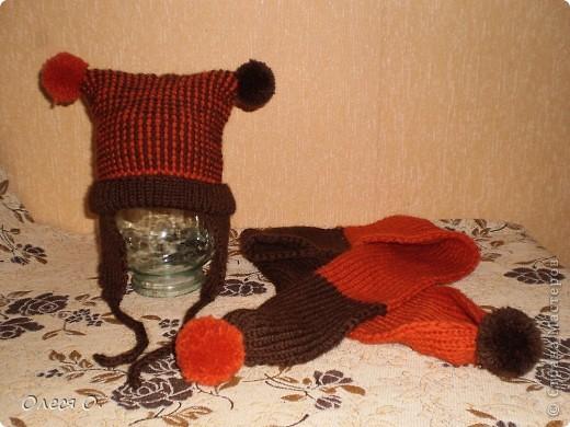Комплект для сынули (пряжа Харизма (ярнарт) - 80% шерсти,20% акрила). Благодаря узору,шапочка получилась двойная.