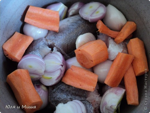 Для начала нам понадобится полкило рыбы хэк (1 шт), 1 большая морковка и 8 луковиц. Все это крупно нарезаем и закладываем в каструлю. фото 1