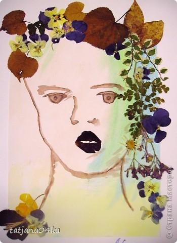"""""""Девочка-осень"""" ,сухоцветы,акварель фото 1"""