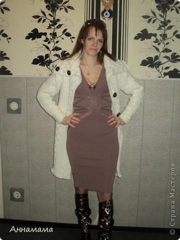 Пальто без подкладки, с большим воротом и узором косы, размер 42  фото 7
