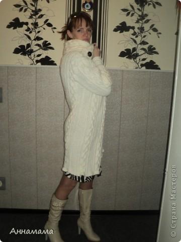 Пальто без подкладки, с большим воротом и узором косы, размер 42  фото 8