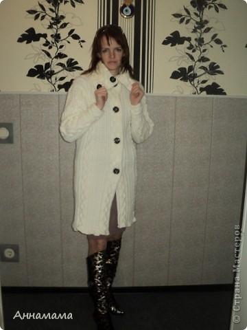 Пальто без подкладки, с большим воротом и узором косы, размер 42  фото 6