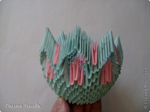Поделка изделие Оригами китайское модульное Ваза Мастер-класс Бумага фото 15