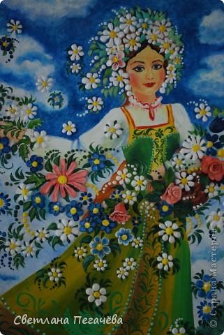 """Работа написана маслом старшими ребятами, а цветы из глины и гипса делали младшие ребята. Я помогала расписывать сара фанчик и рисовать лицо у Весны. Работа так и называется """"Весна"""" фото 2"""