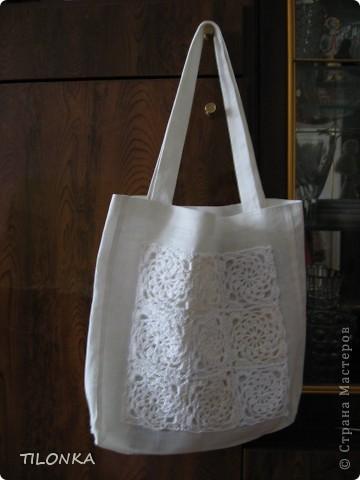 Здравствуйте, уважаемые участники конкурса! Хочу предложить модель моей сумки. Она не совсем вязаная, хотя в ней присутствуют мотивы квадратики фото 6
