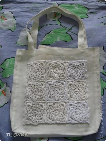 Здравствуйте, уважаемые участники конкурса! Хочу предложить модель моей сумки. Она не совсем вязаная, хотя в ней присутствуют мотивы квадратики фото 1