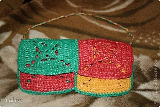 Размер сумочки 13 х 24. Крючок № 4. Ширина полоски для «пряжи» 2,5 см. фото 1