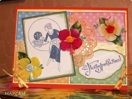 Доброго всем времени суток. Приветствую всех, кто заглянул ко мне в гости. Итак, представляю вашему вниманию мужскую открытку. Первый раз делала открытку с уголком, с люверсами и уложенными в уголок цветами. Короче, у меня ДЕБЮТ!!! Эта открытка для моего кума - крестного моей дочки Ани. фото 2