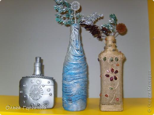 Очень понравился декор бутылок тканью или чулком. фото 1
