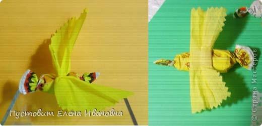 Современных детей трудно удивить,но некоторые идеи их всё-таки увлекают ... :))) У хорошей идеи-богатый потенциал!Идея птички из гофрированной бумаги в учебнике для 1-го класса «Технология.Умные руки.»Татьяны Николаевны Просняковой  вдохновила на такую вот  «сладкую версию» весенних птичек и бабочек!Такая вот у нас жёлтенькая канареечка получилась из барбарисовой карамели :)))  фото 6
