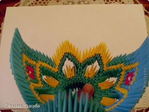 Для создания такой жар-птицы мне потребовлось:1225 модулей (772 голубых, 345 жёлтых, 96 красных, 11 белых и 1 чёрный) фото 33
