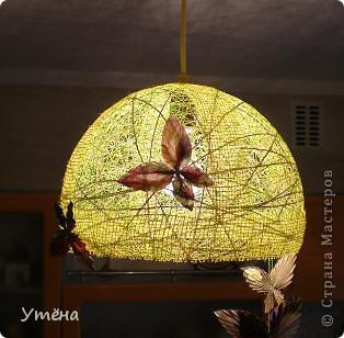 Этот абажур для прихожей делала из шпагата. фото 3