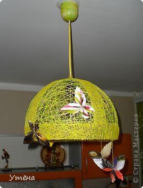 Этот абажур для прихожей делала из шпагата. фото 2
