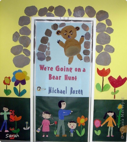 'We're Going on a Bear Hunt' story - one of my favourite stories. I wonder if there is a Russian translation of this book? This is our new book cover, the size of the classrom door. It took us 2-3 days to prepare the different parts of the display. фото 1