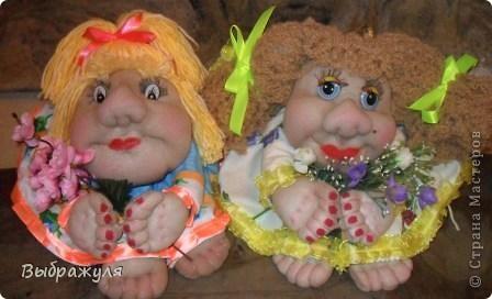 Продолжая учиться делать кукол пока тренируюсь на полюбившихся попиках. Какие  получились в этот раз судить вам. Как -то трудно они мне даются,а когда уже сделаю сразу влюбляюсь в них таких какие есть. фото 1