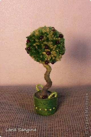 Яблоня. Крона дерева - бубон из пряжи разных оттенков зеленого. Яблоки - бисер на проволочках. Ствол - проволока, обмотанная нитью. Основание - гипс с черным пигментом и плетеная корзинка из тонкой проволоки и тех же ниток, что  крона дерева. фото 1