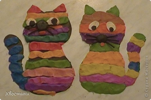Вчера сотворили с сыночком благодаря идее Сандальки http://stranamasterov.ru/node/109062?c=favorite, (за что ей наша благодарность) вот таких котиков. Знакомьтесь: слева Мурытик (Тимофейкин котик, имя придумал тоже сам, как понимаете), справа - мой - Полосатик. фото 1