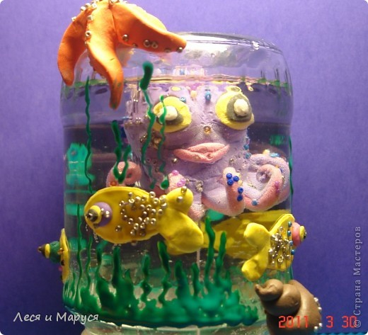 Лепили всей семьёй доче осьминожика, доча рыбок украшала бисером.Отличная необычная идея, спасибо Анат!   Доче очень нравиться! фото 1