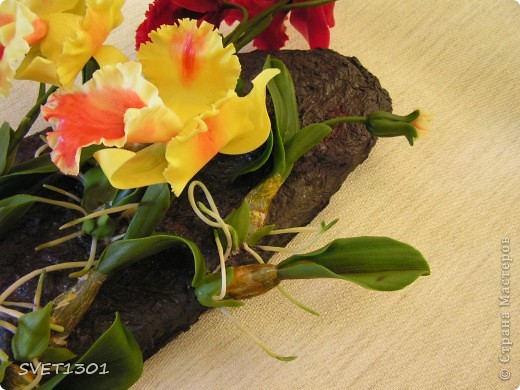 Слепила ещё одну орхидею и решила оформить её вместе с бордовой на кусок дерева и повесить на стену . фото 3