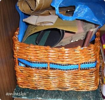 Моя первая корзина, она еще сохнет после покраски. фото 4