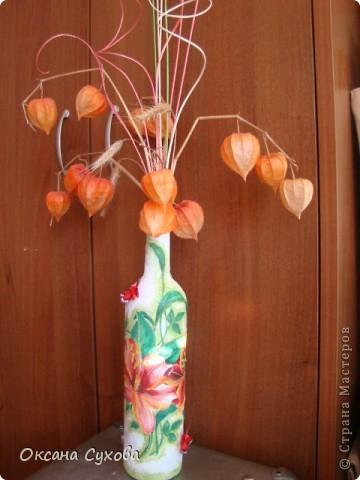 Вот попробовала сделать бутылку...что-то получилось, что-то нет... А рядом композиция из сушёных соцветий (напоминает раскрытые клювики птенчиков) дерева (не знаю названия), которое растёт в Болгарии. Концы соцветий покрасила золотой краской, а основание - залитый в формочке гипс. фото 7