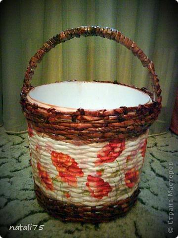 ведро плетенка МАКИ (декор салфетка в технике дукупаж) я только учусь... фото 1