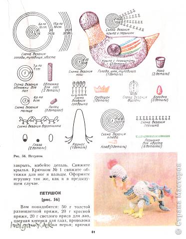 Петух крючком схема и описание