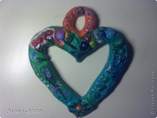Фоторамочка из солёного теста в форме сердца.  фото 1