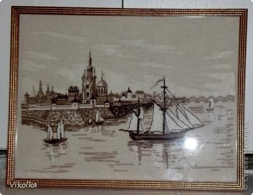 """Хочу показать вам несколько работ на """"морскую"""" тему. """"Порт""""- набор от Риолис, размер 30х40, нитки - шерсть. фото 1"""