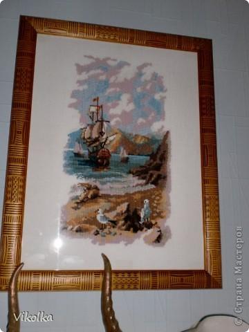 """Хочу показать вам несколько работ на """"морскую"""" тему. """"Порт""""- набор от Риолис, размер 30х40, нитки - шерсть. фото 5"""