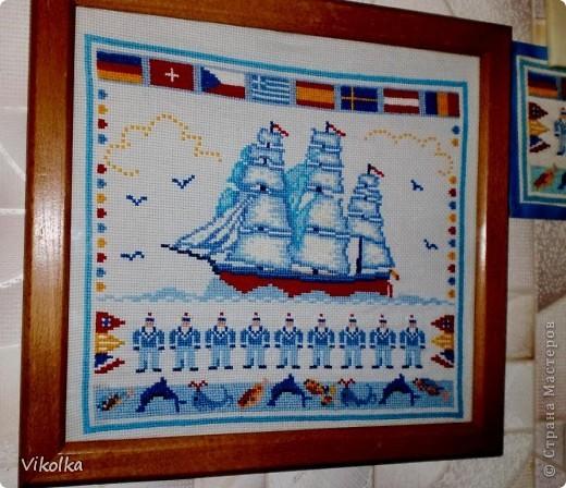 """Хочу показать вам несколько работ на """"морскую"""" тему. """"Порт""""- набор от Риолис, размер 30х40, нитки - шерсть. фото 4"""