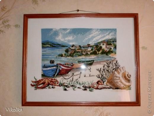 """Хочу показать вам несколько работ на """"морскую"""" тему. """"Порт""""- набор от Риолис, размер 30х40, нитки - шерсть. фото 6"""
