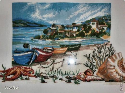 """Хочу показать вам несколько работ на """"морскую"""" тему. """"Порт""""- набор от Риолис, размер 30х40, нитки - шерсть. фото 7"""