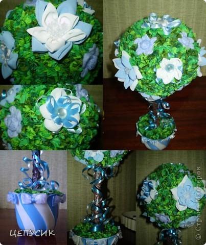 ЭТО МОЕ ПЕРВОЕ ДЕРЕВЦЕ (думаю, что не последнее))))) ДЕЛАЛА ЕГО СРАЗУ В ПОДАРОК... Цветы из ткани (причем почти все цветочки разные), листики из гофр. бумаги. фото 2
