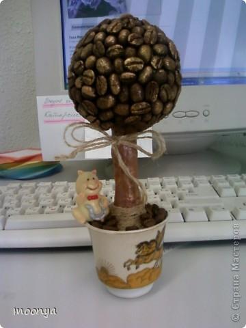 думала не получится, а вроде бы ничего смотрится, впервые попробовала технику декупажа ,это была старая кофейная чашечка, а стал апельсиновый горшок для кофейного дерева. фото 3
