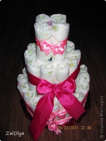 У друзей родилась очаровательная малышка! По этому поводу созрел этот тортик из подгузников! фото 2