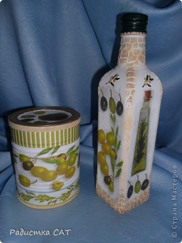 Банка из под детского питания и бутылка оливкогого масла. фото 1