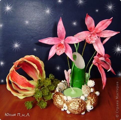 Вот такой чудо-остров у меня получился…Делала сотруднице на день рождения букетик, изначально не зная результата. Слепила что-то типа орхидей…А уж когда начала раздумывать как его оформить - все это и получилось. фото 1