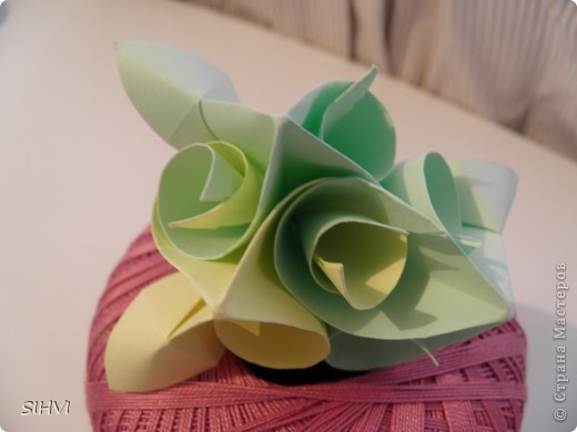 Мастер класс *Origami Aquilegia flower* фото 20