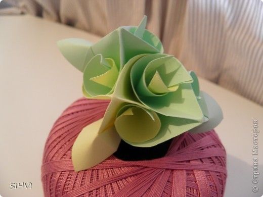 Мастер класс *Origami Aquilegia flower* фото 21