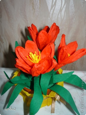 Крокусы для мамы. Сделаны по МК http://stranamasterov.ru/technics/flowers22-23.html. фото 3