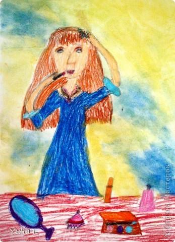 Вот уже полгода, как Анюта посещает художественную школу. Хочу представить всем заглянувшим небольшой фотоотчет.  Все работы А3 формата. Техники две - живопись и графика. Тигренок в траве. Гуашь. фото 7