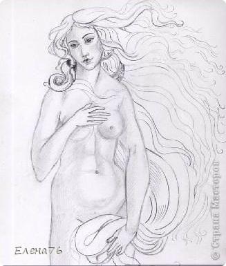 """Венера (карандашная копия фрагмента картины """"Рождение Венеры"""" Ботичелли) фото 1"""