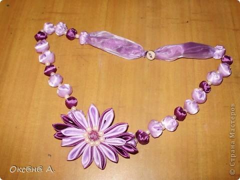 Бусы из ткани с цветком канзаши фото 3