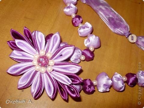 Бусы из ткани с цветком канзаши фото 1