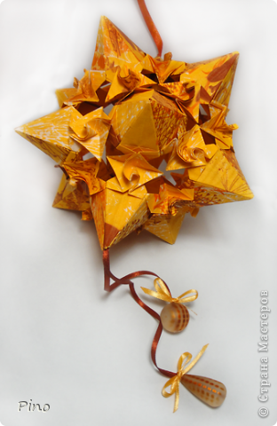 Кусудама Whipped Cream, вариация - Star with Spirals. Автор - M. Mukerji фото 3