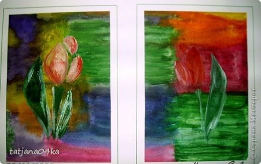 рисунки выполнены гуашью,,,зонтики - печать губкой через  трафарет фото 4