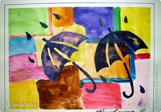 рисунки выполнены гуашью,,,зонтики - печать губкой через  трафарет фото 2