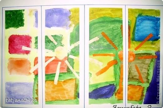 рисунки выполнены гуашью,,,зонтики - печать губкой через  трафарет фото 6