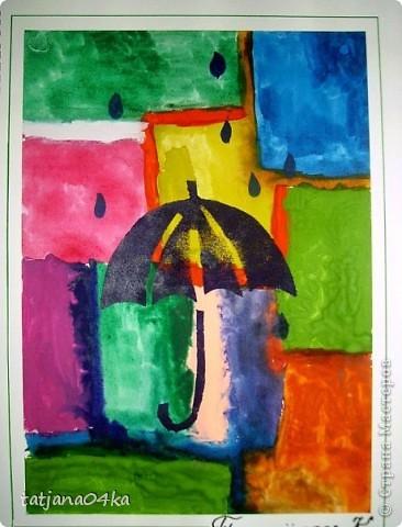 рисунки выполнены гуашью,,,зонтики - печать губкой через  трафарет фото 1